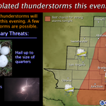 Isolated storms, some strong, will be possible this evening across portions of West Central TX. #txwx http://t.co/jOepZhyVkM
