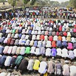 This is what they dont want to see, our unity | Muslims praying as Christians keep watch. Occupy Nigeria, Jan 2012. http://t.co/w9SMqGSkXJ