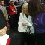 Shelley Sterling going to her courtside seat b4 tipoff. @LAClippers @ABC7Rob @FredNBCLA @tgtrojan @VeniceMase http://t.co/61V4d5vyWF