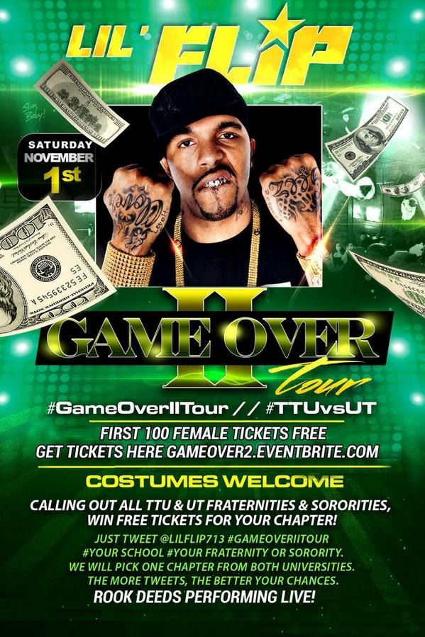Lubbock Saturday for #TTUvsUT RT & reply #GameOverIITour if you want free tickets! Click link http://t.co/tOVp4CQFW9 http://t.co/EIULpxtZ7d