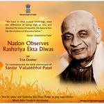 Nation observes #RashtriyaEktaDivas today to commemorate birth anniversary of Sardar Vallabhbhai Patel. http://t.co/SK5kmCIho3
