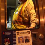 """Celebrating Freins arrest, a toll worker on the turnpike writes """"captured"""" on a wanted poster. http://t.co/ncofwVUF7k"""