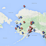 How much have Begich & Sullivan traveled? A map of their stops -- party colors, white both. #aksen (@kylehopkinsAK) http://t.co/OpACvMVhaL