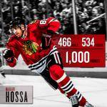 Marian Hossa just became the 80th player in NHL history to reach 1,000 career points. Congrats, Hoss! http://t.co/QI7mJhOXnm