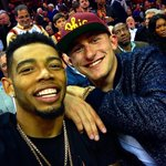 """""""@ESPNNFL: Johnny Manziel and Joe Haden taking in LeBrons homecoming (via @cavs) http://t.co/R9TXKZzano"""" why he leaning on him like that?"""