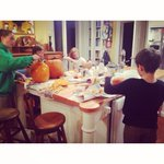 Carved pumpkins and talked to my 8, 9 and 9yo sons about violence against women. #NoMeansNo #ihadthetalk http://t.co/8igolzfWSu