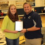 Player of year in Region 4 volleyball is Warren East sophomore Kaley Bloyd, accepting award from WCHS AD Chase Goff. http://t.co/xX34zTLWu0