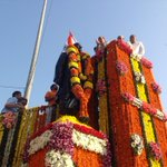 The HM garlanded the statue of Sardar Vallabhbhai Patel in Hyderabad on his birth anniversary today. http://t.co/xXNpv2pxGt