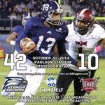 FB: Eagles win! Move to 6-0 in the Sun Belt! http://t.co/ApSeQUd2FQ