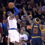 Video: Knicks Carmelo Anthony hits dagger to spoil homecoming of Cavaliers LeBron James http://t.co/MIIrxxPDKh http://t.co/Aufgxt3auX