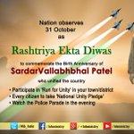 Nation observes #RashtriyaEktaDivas today to commemorate Birth Anniversary of Sardar Vallabhbhai Patel http://t.co/ZUte0pqDZD
