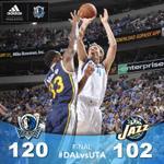 FINAL: #MavsWin! Mavs defeat Jazz 120-102! Dirk & Parsons each have 21 pts. Box: http://t.co/fNiYwIvWxh #DALvsUTA http://t.co/HmL8fl7zeC