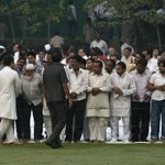 Cong VP Rahul Gandhi meeting people gathered at Shakti Sthal to pay tribute to Smt.Indira Gandhi #IronLeadersofINC http://t.co/DAdX8Nr9a5