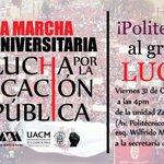 31oct Mega Marcha Interuniversitaria #TodosSomosPolitécnico #Ayotzinapa tod@s a las calles unidad de todas las luchas http://t.co/u2HMhqJkdB