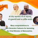 Many congratulations to Shri #DevendraFadnavis for becoming the Chief Minister of #Maharashtra . http://t.co/DolrjoolYm