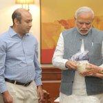 Prime Minister Shri @narendramodi receives personal belongings of #SardarPatel on his 139th birth anniversary. http://t.co/cJcjFaSDld