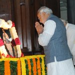 PM pays tributes to #SardarPatel on the occasion of his birth anniversary, in Parliament House http://t.co/Kc6A7xpc3K