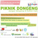 Ayo besok pagi kita #PiknikDongeng di Kebun Raya Bogor! Ajak adik, sepupu atau anak kalian ! @rcstoryfest http://t.co/MScBGLX2p3