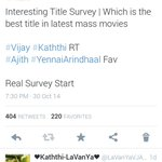 #Kaththi beat #YennaiArindhaal in Mass Title Survey #Kaththi 404 Votes #YennaiArindhaal 220 Votes Huge Difference http://t.co/925V9goPWJ