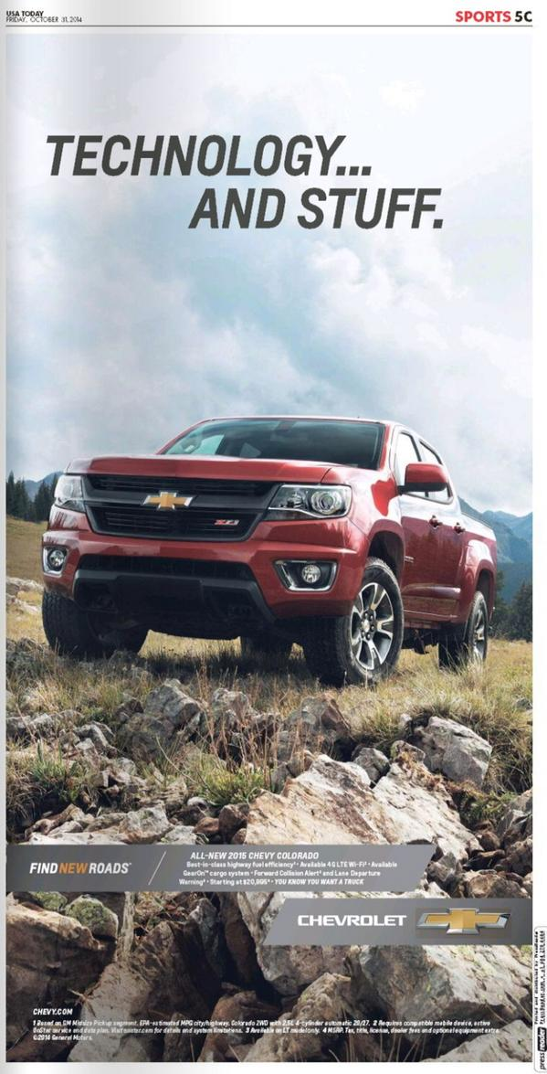 "Fantastic USA Today Chevy print ad for ""Technology and Stuff"".  Way to lean into Rikk's moment. #chevyguy. Brilliant http://t.co/pG80CRQS9J"