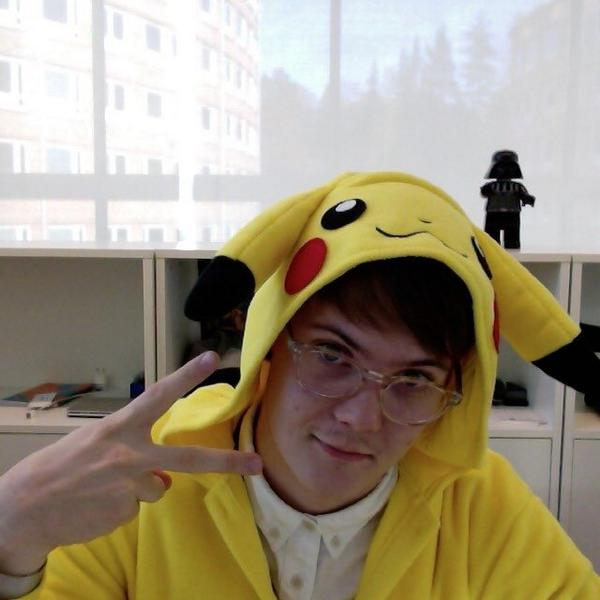 Our @Nordnet colleague @GU5TAF arrived in the office today at wearing a brilliant Pikachu outfit. :) http://t.co/QaZ6OXrqRr