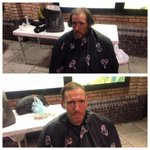 our amazing barber @aaronrogers08 cut homeless brians hair last night, RT if you like his work :) http://t.co/1FLnLVwUOz