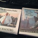 Remembering Mayor Menino . The Boston newspapers front pages http://t.co/lKsakEiniY