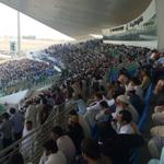 Pretty close to a full house in the Zayed Stadium grandstand after lunch, and the locals are loving it #PAKvAUS http://t.co/wXWwgaWh80