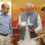 PM Receives Sardar Patels Belongings from Sheila Ghatate of a Delhi-based NGO, Manjiri Trust http://t.co/i0beI7iJmS http://t.co/38kb4pDOi8