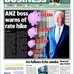 Record profit and warning from ANZ. Front page of biz in @couriermail on Sat. http://t.co/qrtC5JZ9XN