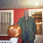 William S. Burroughs with his hatchet-carved jack-o-lantern. via: http://t.co/QvJUCbKXk4 http://t.co/uiHaX8hPim