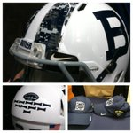 Helmets for military appreciation.  We will have 3 survivors from the USS Indianapolis CA-35 at our game http://t.co/d6ukG7J5jO