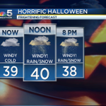 #FRIGHTENING #Halloween forecast today #Chicago. Powerful winds, rain, thunder and snow at times! @nbcchicago http://t.co/8sN5NB14Zh