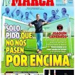 Ésta es la portada de Marca y así es cómo la ha dejado Caparrós en rueda de prensa por haber manipulado sus palabras. http://t.co/WUKELYckHT