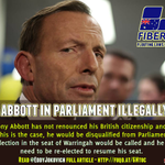 Is Abbott in Parliament illegally? http://t.co/dKCirGgNIK #AUSpol #Lateline via @EddyJokovich http://t.co/DFxLTfRmZk
