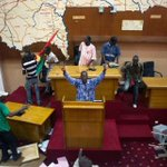 "Meanwhile in #BurkinaFaso: Protesters have now taken over the parliament and are carrying out their ""sessions"" http://t.co/rGtsXPLo9F"