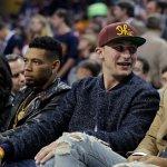 .@JManziel2 + @joehaden23 were in the building last night for @KingJames return to the Cavaliers. http://t.co/TVVja6i4Yz
