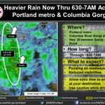 Band of heavier rain to impact PDX metro thru 7AM. Slow down & allow extra time to arrive at destination #pdxtraffic http://t.co/XWl0nVHXs4
