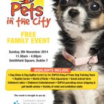 Pets in the City is a new free family event, proud to be supported by @DublinSPCA #pets #events #dublin http://t.co/aZ7Vqhb7vw