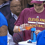 The Cavaliers water boy was caught filling a Powerade bottle with Gatorade on TV. GIF: http://t.co/UG4nYGXigs http://t.co/jemDULdYNY