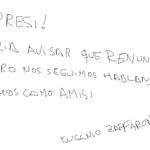 El Borrador de la renuncia de Zaffaroni #Zaffaroni http://t.co/U0x4LvqN0u