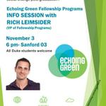 Monday! Info session on Echoing Green Fellowship Program - Mon Nov 3 at 6 p.m Sanford 03 All Duke students welcome! http://t.co/2DI4OP6ozX