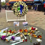 Makeshift memorial for @mayortommenino growing in Downtown Crossing. @BostonTweet @universalhub http://t.co/JZME8LfDAm