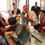 #ObamainRI does full #RI. @BarackObama w/ Death by Chocolate cake at Greggs w/@GinaForRI. By Bob Breidenbach @projo http://t.co/p76DVuIZjN