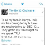 Heres @2chainz statement confirming his trip to Kenya cancellation #SomeoneTell2Chainz http://t.co/S1tTJN5E1k