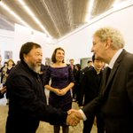 Major of @AmsterdamNL Van der Laan shaking the hand of @aiww at the opening of our Still/Life exhibition in Beijing http://t.co/02FfFIkb5e