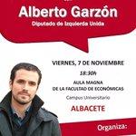 Alberto Garzón en AB. 7 nov. 18.30 facultad económicas @masquealba @AlbaceteAbierto @albacetecuenta @AlbaceteCapital http://t.co/dJP3OvSVou