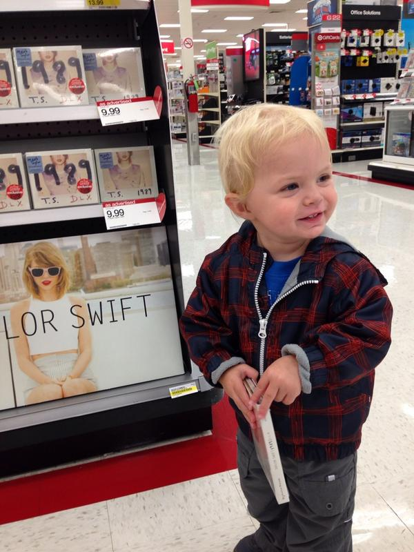 His Sister is sick... Thought a physical copy of the new @taylorswift13 album might cheer her up. #TS1989 #littleMan http://t.co/Oxy5GoBqsq