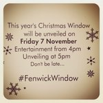 This years #FenwickWindow will be unveiled on Friday 7 November at 5pm! @intueldonsquare @NewcastleNE1 @altweet_pet http://t.co/n3jDZrb2Fl