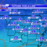 Bundle up this evening! Well have Feels Like Temperatures in the 30s. #arwx #mowx http://t.co/iCOIcT2TSo